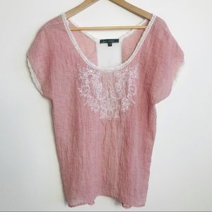Love Stitch Light Red Embroidered Front Shirt